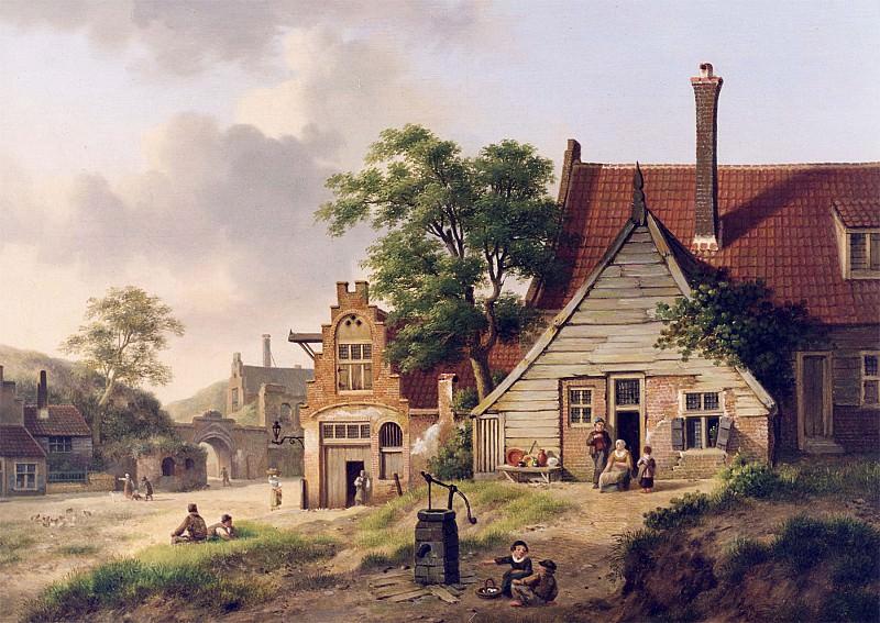Jan Hendrick Verheyen A Dutch Village Scene with Figures 12289 2426. часть 3 -- European art Европейская живопись