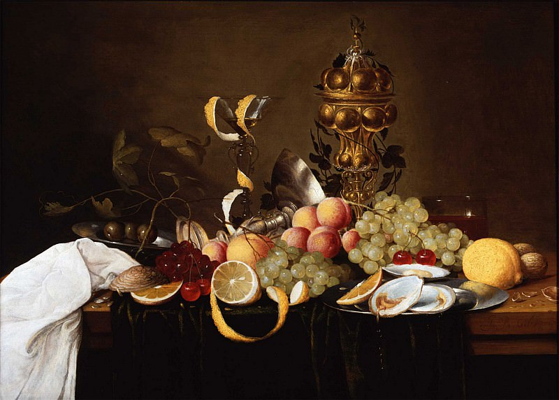 Jan Pauwel Gillemans I Still Life of Fruit with Oysters a Tazza a Guild Goblet and a FaГ§on de Venise 78339 276. часть 3 - европейского искусства Европейская живопись