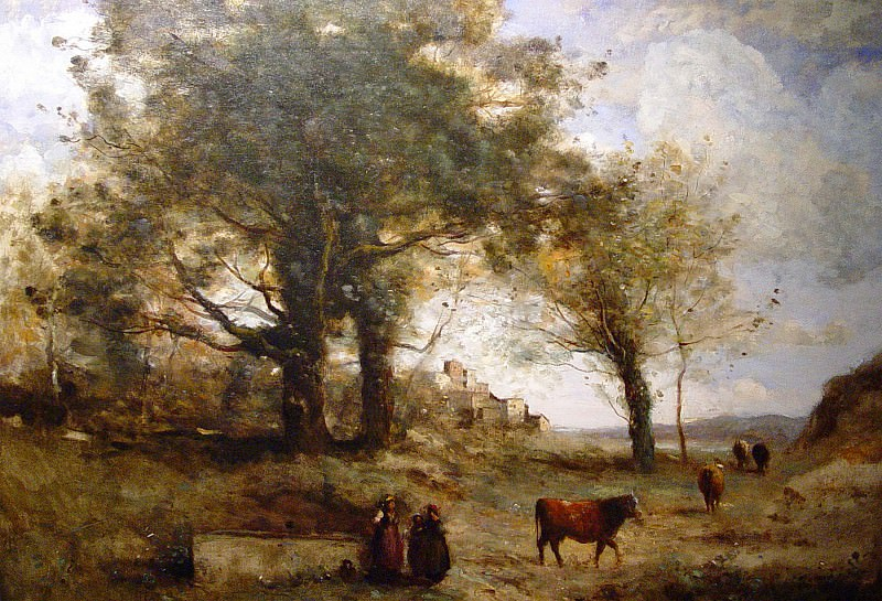 JEAN BAPTISTE CAMILLE COROT Les Vacheres a la Fontaine 63659 1184. часть 3 - европейского искусства Европейская живопись