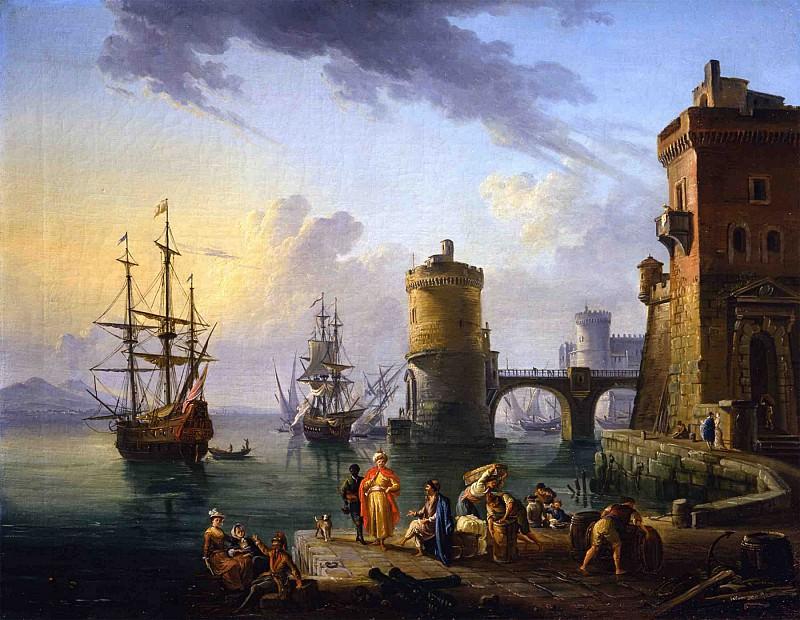 Jean Baptiste Lallemand A port scene Turkish merchants on the landing stage in front of ships 32062 184. часть 3 -- European art Европейская живопись