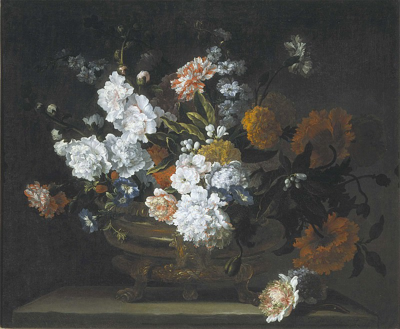 Jean Baptiste Monnoyer Peonies Carnations Poppies & other flowers in a bronze Urn 99579 20. часть 3 -- European art Европейская живопись