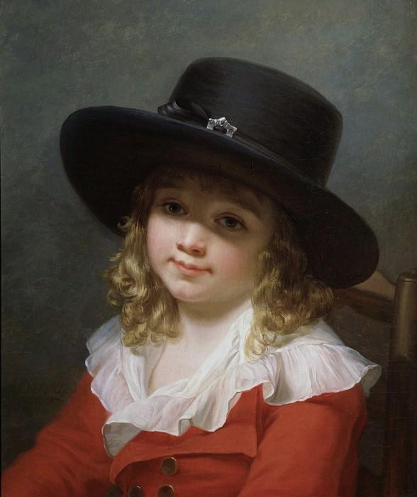 JEAN LAURENT MOSNIER Portrait of a Young Boy wearing a black Hat and red Coat 42029 316. часть 3 - европейского искусства Европейская живопись