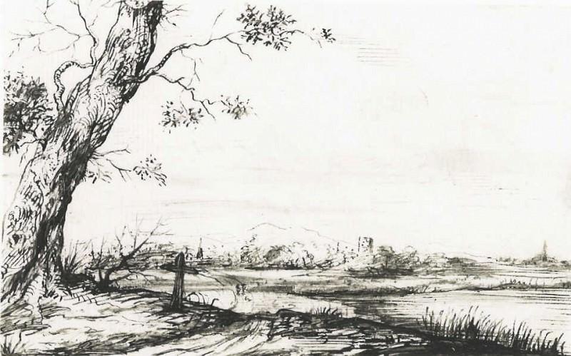 Ливенс, Ян Landscape with Tree 11352 172. часть 3 - европейского искусства Европейская живопись