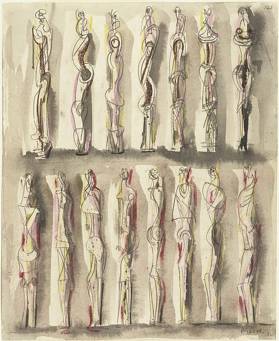 Henry Moore Standing figures 28480 20. часть 3 - европейского искусства Европейская живопись