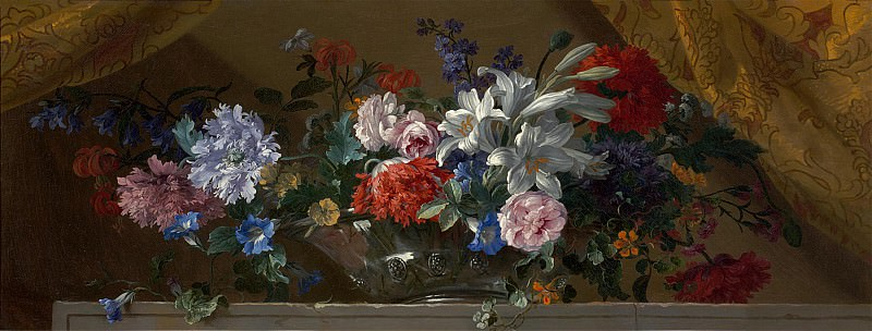 Jean Baptiste Monnoyer Flowers in a glass vase on a marble ledge an overdoor 99520 20. часть 3 -- European art Европейская живопись
