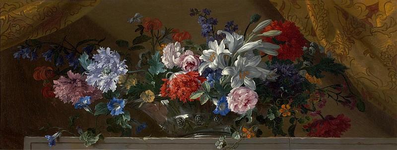 Jean Baptiste Monnoyer Flowers in a glass vase on a marble ledge an overdoor 99520 20. часть 3 -- European art Европейская живопись