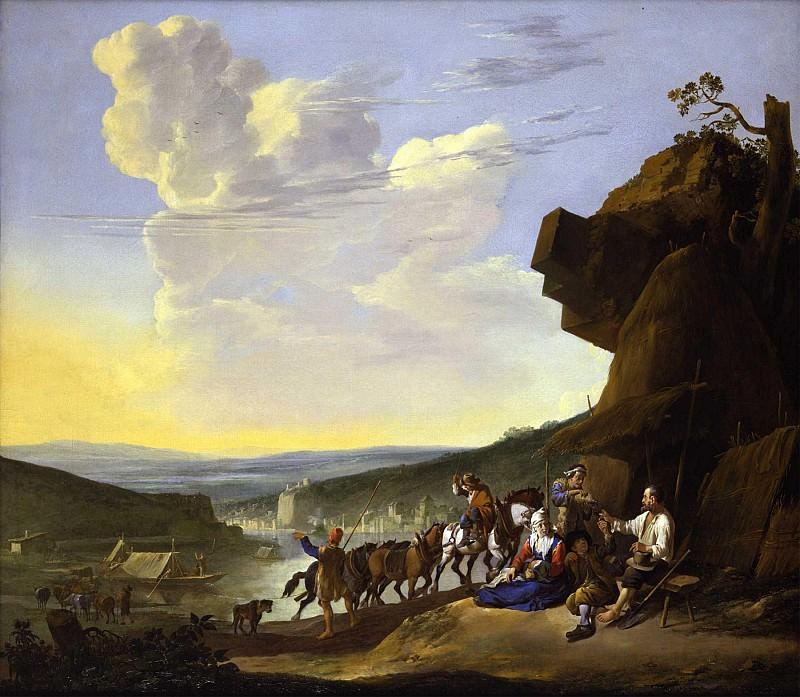 Johannes Lingelbach An extensive river landscape with peasants resting by a shack and horses pulling a boat 46099 172. часть 3 - европейского искусства Европейская живопись