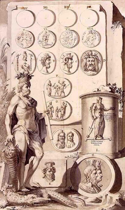 JAN GOEREE Design for a Book Illustration with Antique Medals and Cameos and the Allegorical Figure of Serapis Standing on a crocodile 11350 172. часть 3 - европейского искусства Европейская живопись