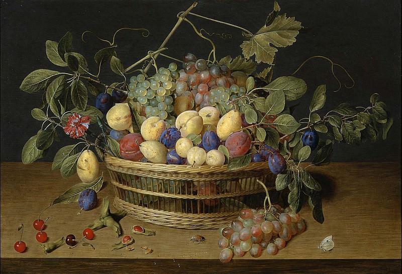 Jacob van Hulsdonck Fruit in a Basket on a Table 99079 20. часть 3 -- European art Европейская живопись