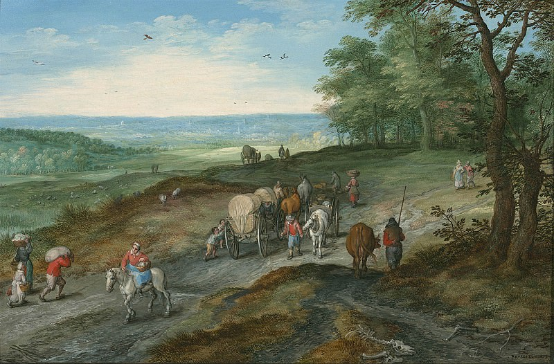 Jan Brueghel The Elder Panoramic landscape with a covered waggon and travellers on a highway 97959 20. часть 3 -- European art Европейская живопись