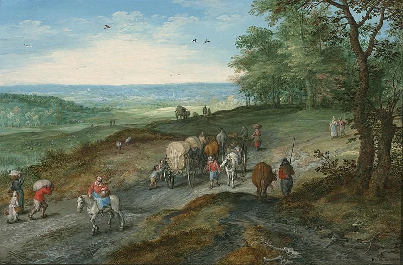 Jan Brueghel The Elder Panoramic landscape with a covered waggon and travellers on a highway 97959 20. часть 3 - европейского искусства Европейская живопись