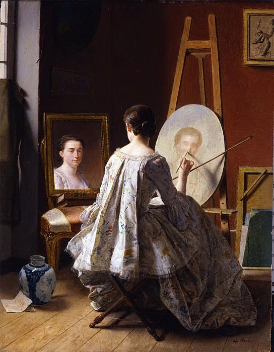 JEAN ALPHONSE ROEHN Portrait of an artist painting her self portrait 29679 172. часть 3 - европейского искусства Европейская живопись
