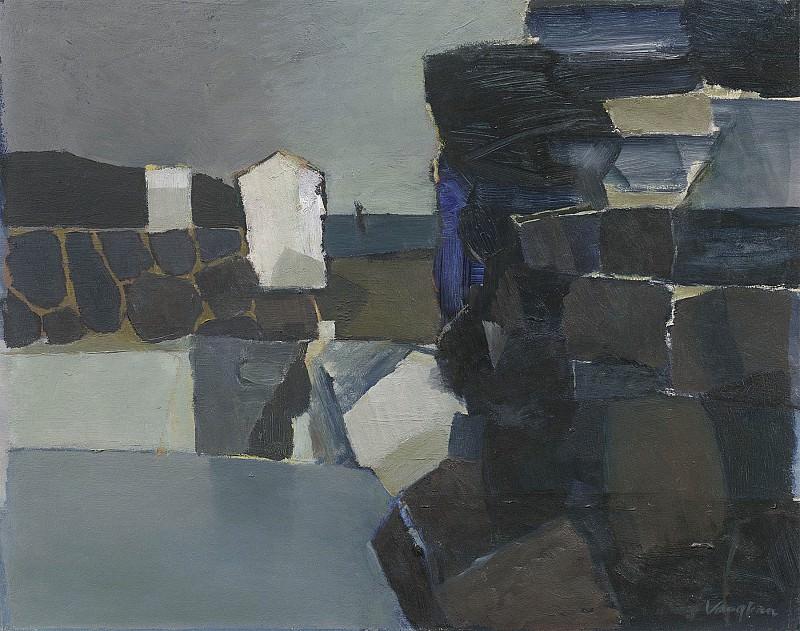 Keith Vaughan Black rocks and beach huts Whitby Bay 1694 20. часть 3 - европейского искусства Европейская живопись