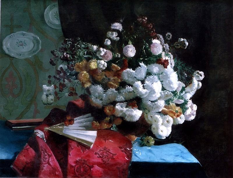 Joseph Augustin Fontan Bouquet de fleurs et Г©ventail 11896 1184. часть 3 - европейского искусства Европейская живопись