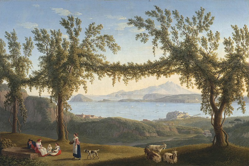 Jakob Philipp Hackaert Country folk resting beneath vines in the hills above Solfatara with a view of Ischia Procida and the Bay of Pozzuoli beyond 28321 20. часть 3 -- European art Европейская живопись