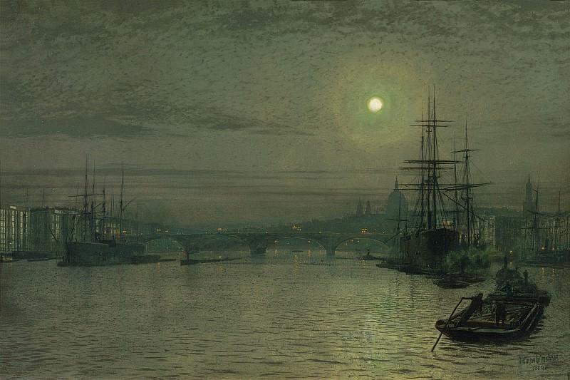 John Atkinson Grimshaw London Bridge Night 28316 20. часть 3 - европейского искусства Европейская живопись