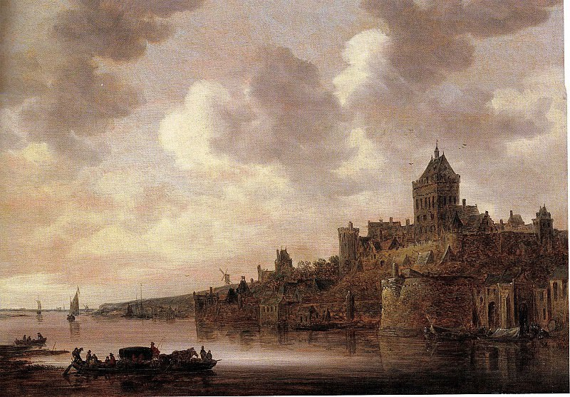 Jan Josephsz van Goyen The Valkhof at Nijmegen with a coach and a ferry on the river Waal 46039 172. часть 3 -- European art Европейская живопись