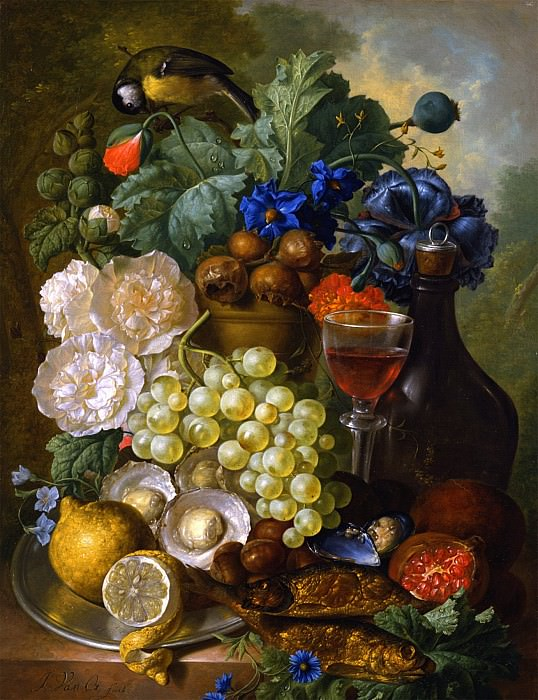 Jan van Os Still life with fruits and flowers oysters mussels a glass of wine and a decanter 29912 172. часть 3 -- European art Европейская живопись