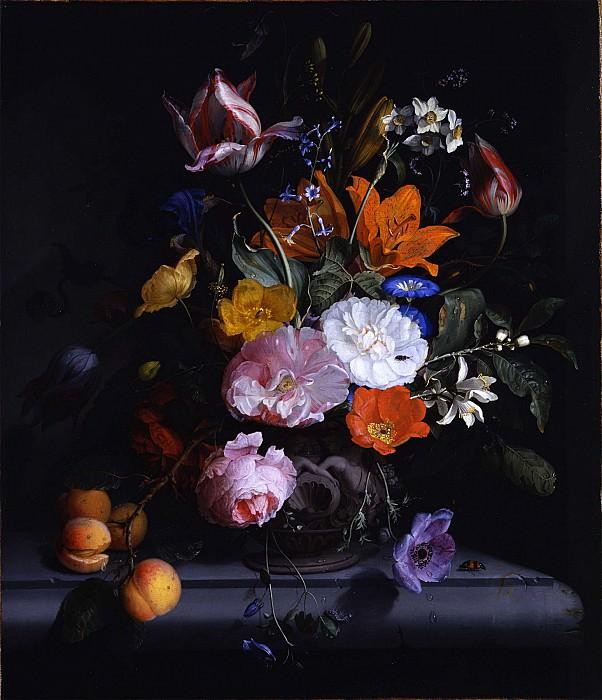 Jacob van Walscapelle A still life of flowers and a branch of peaches in a sculpted vase on a ledge 89719 172. часть 3 -- European art Европейская живопись