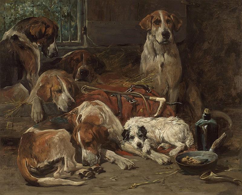 John Emms Foxhounds and a terrier resting after the hunt 28256 20. часть 3 -- European art Европейская живопись