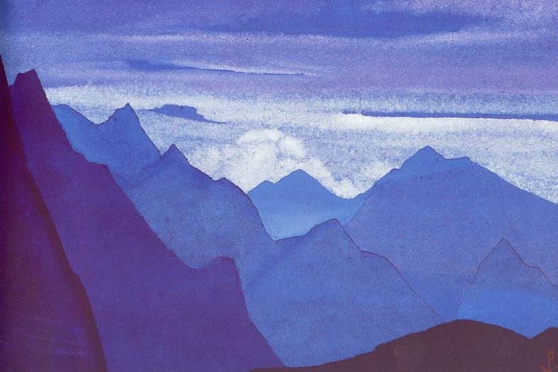 Himalayas # 97 Lilac twilight in the mountains. Roerich N.K. (Part 4)