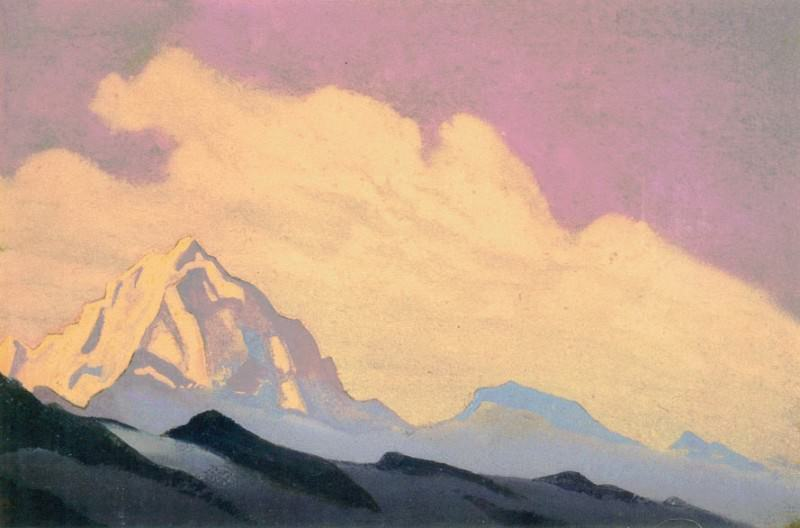 The Himalayas # 90 The summit at dawn. Roerich N.K. (Part 4)