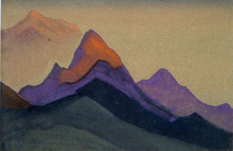 Evening # 147 (Rocky peaks at sunset). Roerich N.K. (Part 4)