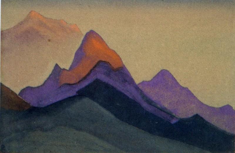 Вечер #147 (Скалистые вершины в лучах заходящего солнца). Рерих Н.К. (Часть 4)