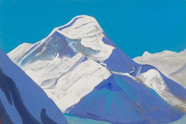 Himalayas # 203 Snowy peak against a turquoise sky background. Roerich N.K. (Part 4)