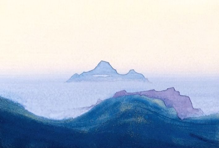 Himalayas # 123 Fog hiding the mountain areas. Roerich N.K. (Part 4)