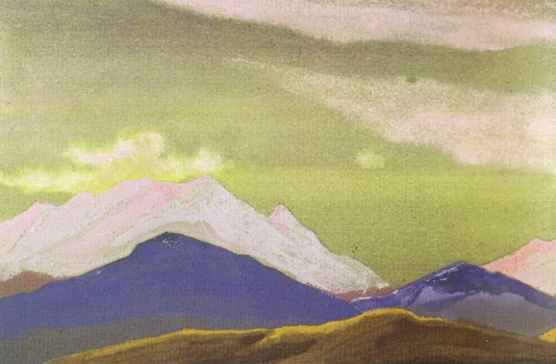 "Hunt # 63 Hunting (ridge at sunset) ( sketch for the painting ""Hunting""). Roerich N.K. (Part 4)"