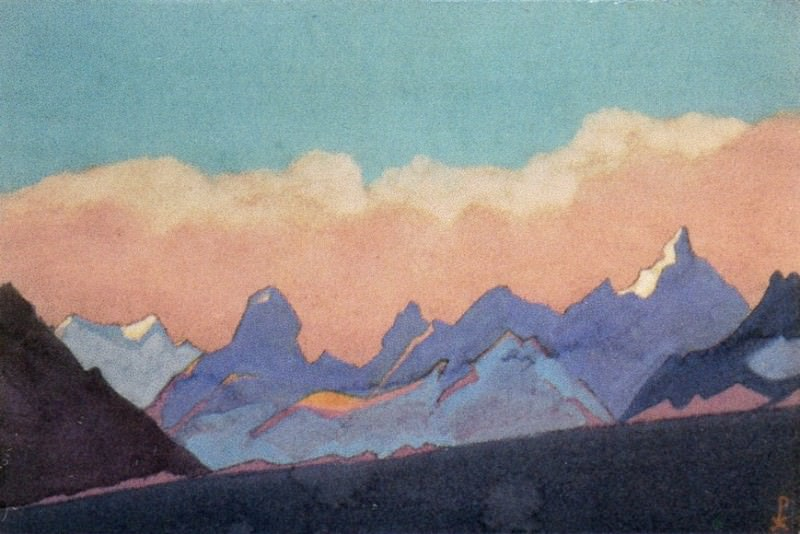 Himalayas # 152 Clouds above a mountain ridge. Roerich N.K. (Part 4)