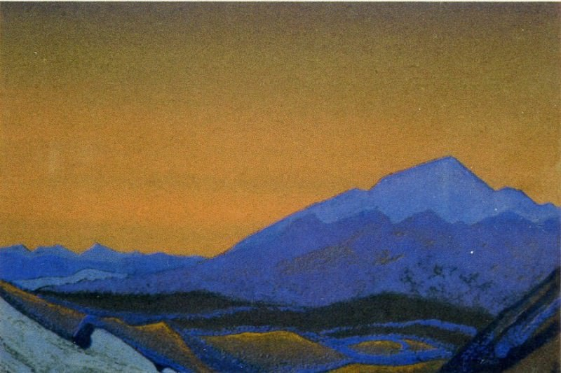Path to KAILAS # 127 (blue rock after sunset ). Roerich N.K. (Part 4)