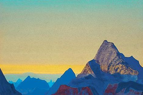 The Himalayas - sunrise # 1 (Himalayas, Sunrise, Himalayan morning). Roerich N.K. (Part 4)