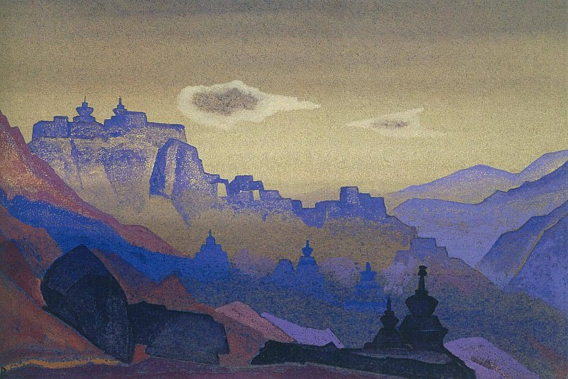 Himalayas # 16 Blue rocks on the pink sky. Roerich N.K. (Part 4)