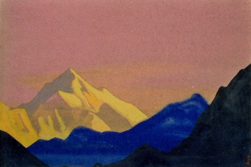 Himalayas # 149 Golden peak on the pink sky. Roerich N.K. (Part 4)