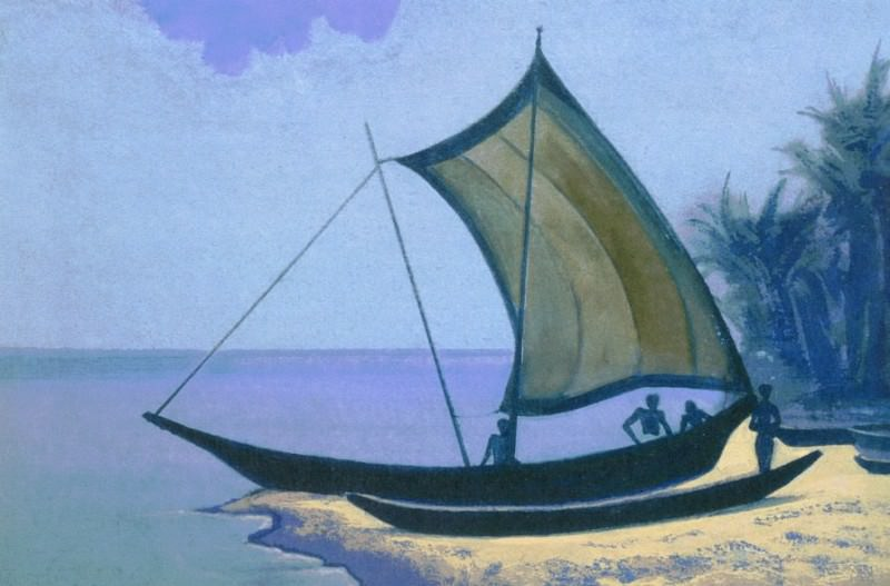 Ceylon (sailing boat on the sand). Roerich N.K. (Part 4)
