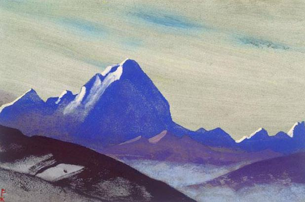 The Himalayas # 202 The Blue Cliff. Roerich N.K. (Part 4)