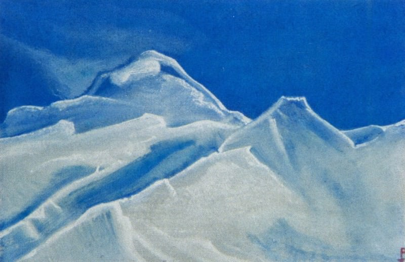 Himalayas # 85 Snowy peaks against the blue sky. Roerich N.K. (Part 4)
