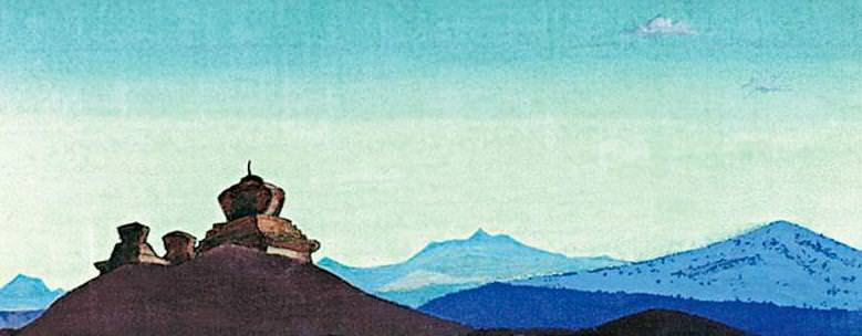 Guards desert (Stepping on a hill) (sketch) # 49. Roerich N.K. (Part 4)