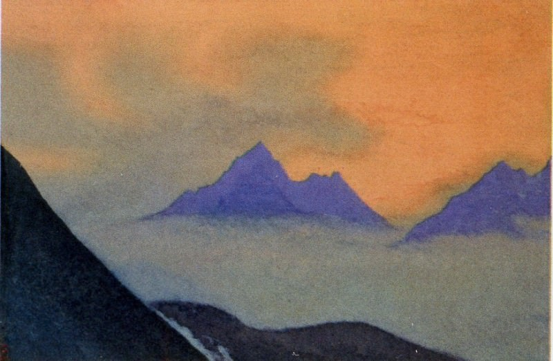 The Himalayas # 113 The blue peaks in the fog. Roerich N.K. (Part 4)
