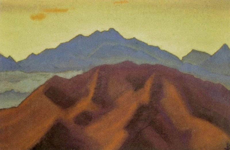Сандахпу #51 Сандахпу (Оранжевые облака над лиловыми скалами). Рерих Н.К. (Часть 4)