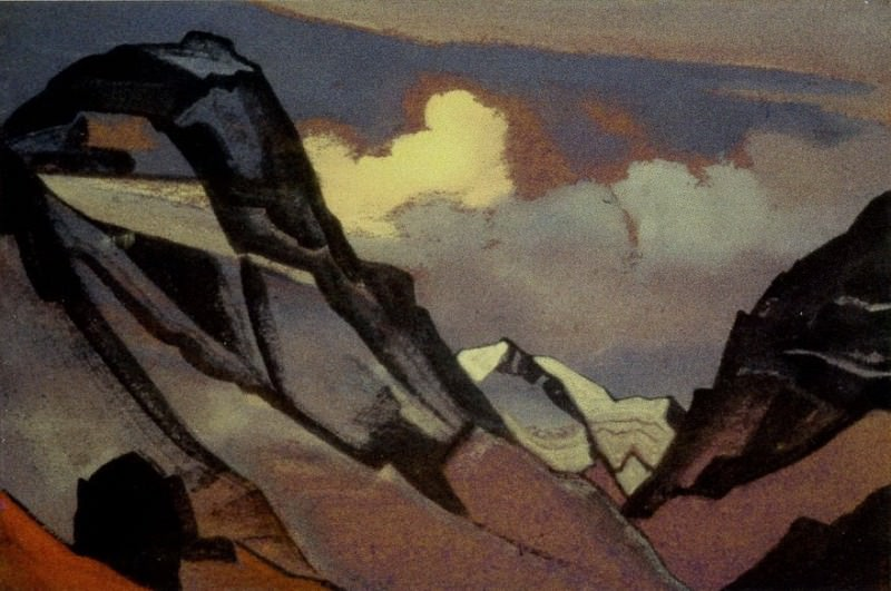 Gloomy mountains in clouds # 46. Roerich N.K. (Part 4)