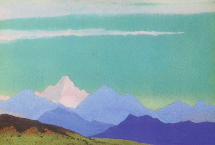 Himalayas # 75 Pink peak on the turquoise sky. Roerich N.K. (Part 4)