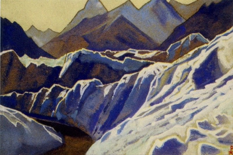 Himalayas # 76 Slopes covered with a glacier. Roerich N.K. (Part 4)