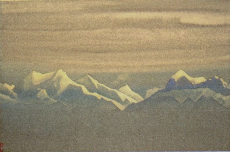 Himalayas # 139 Mountains and sky in silver hats. Roerich N.K. (Part 4)
