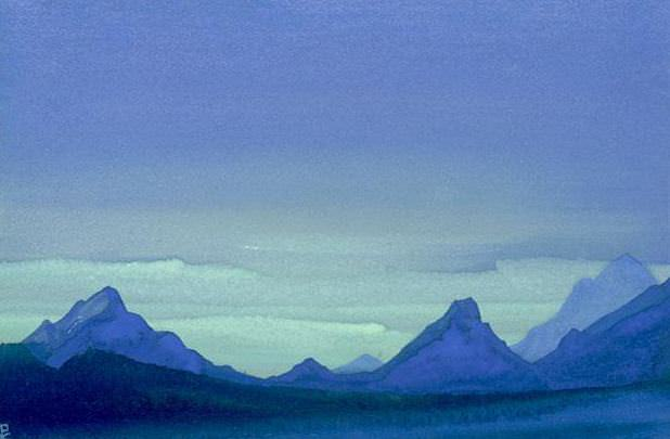 The Himalayas # 214 Evening Mountains. Roerich N.K. (Part 4)