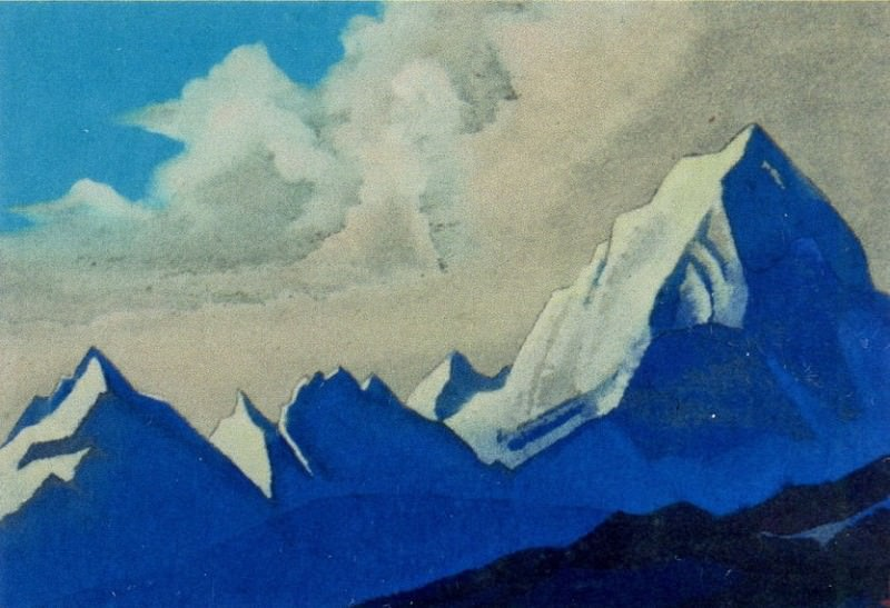 The Himalayas # 157 The crests of mountains and clouds. Roerich N.K. (Part 4)