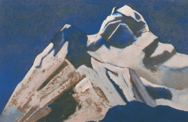 The Himalayas # 106 The sparkling peak against the background of a pale gray sky. Roerich N.K. (Part 4)