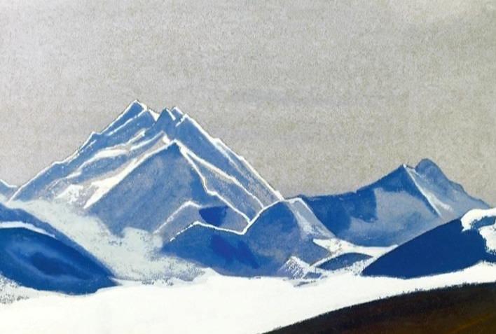 Everest # 21 Everest (vertex in the evening light). Roerich N.K. (Part 4)